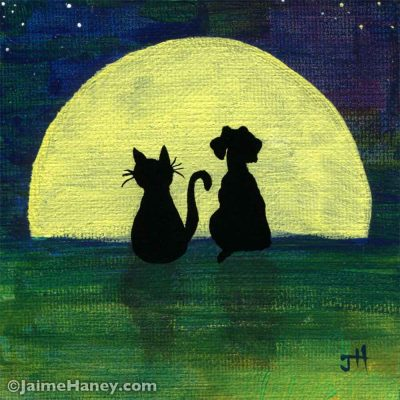 Moon with cat and dog silhouettes painting