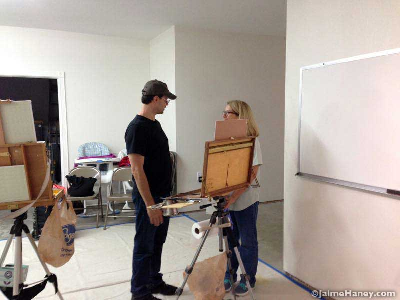 Scott Burdick talking with student Laura Shepard