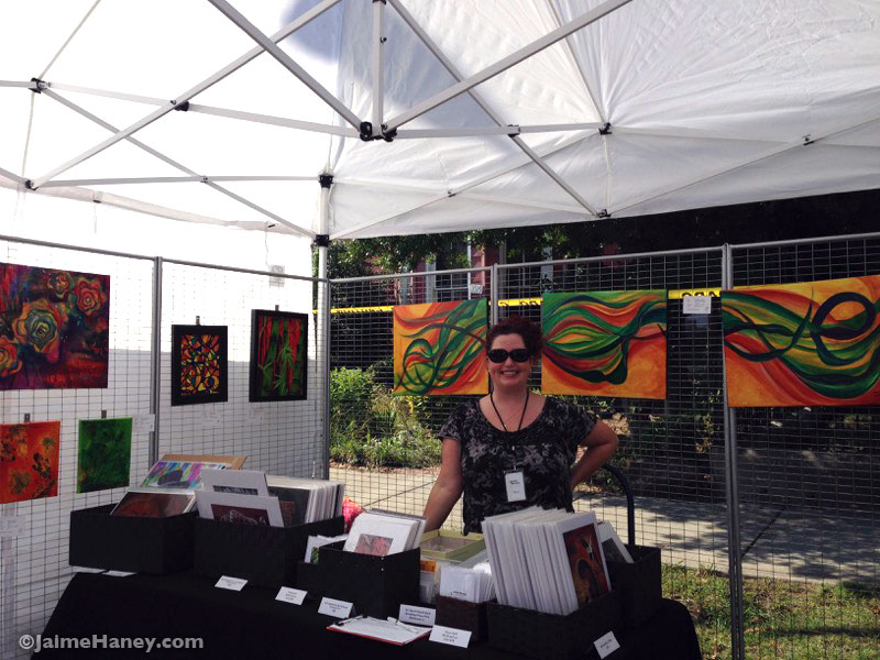 artist Jaime Haney at her booth at Funk in the City south East Second street