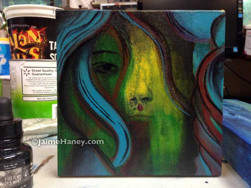 mysterious face expressionistic painting