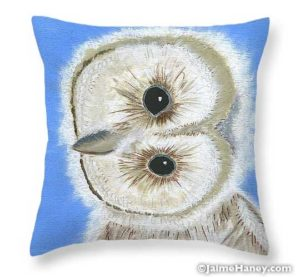 baby barn owl painting on a pillow