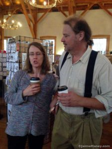 Friends Lana Anselment with Ben LaBudde, also the wood carver
