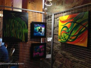 Corner of the art booth of Jaime Haney at Christmas in New Harmony.