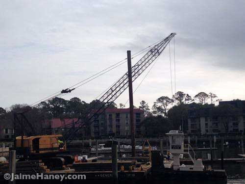 Repair work being done in the harbor on Hilton Head Island.