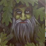 Forest Guardian green man painting finished