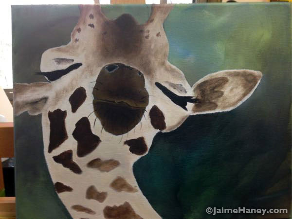 giraffe painting waiting for foliage