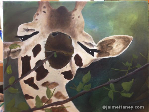 adding in the tree branches and leaves for the giraffe to eat