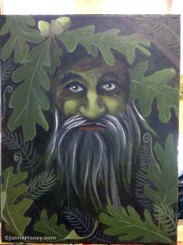 Green Man painting in progress