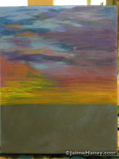 the beginning of a commission sunset painting