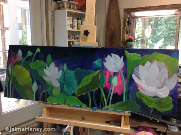 painting white lotus flowers