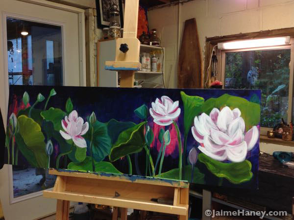 Finished lotus garden painting