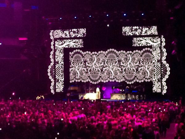 Stevie Nicks on stage at the beginning of her 24K Gold Tour at Bankers Field House Stadium in Indianapolis, Indiana