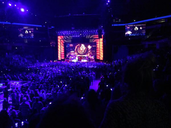 Stevie Nicks on stage performing Gold Dust Woman during her 24K Gold Tour at Bankers Field House Stadium in Indianapolis, Indiana