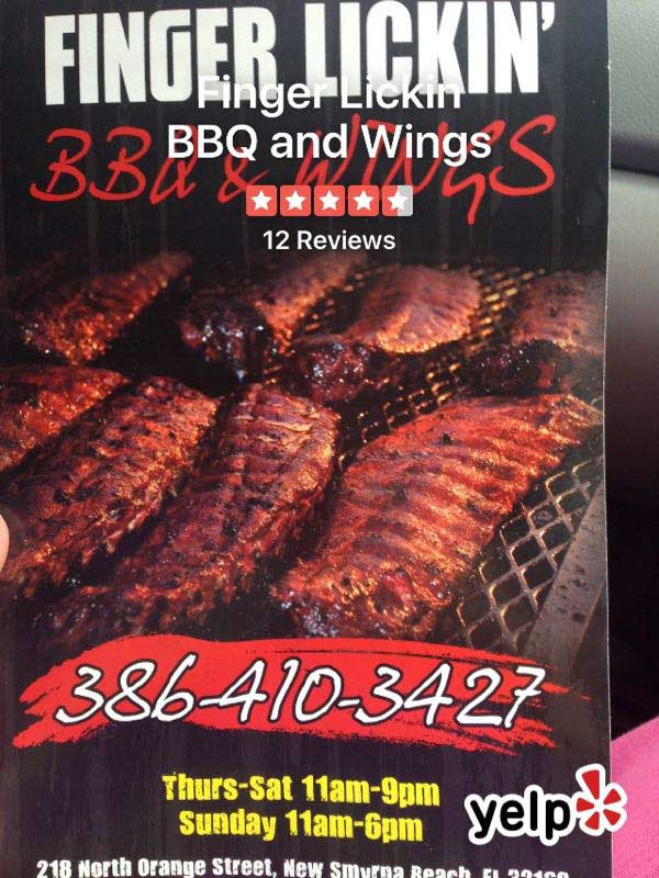 Finger Lickin' BBQ & Wings flyer