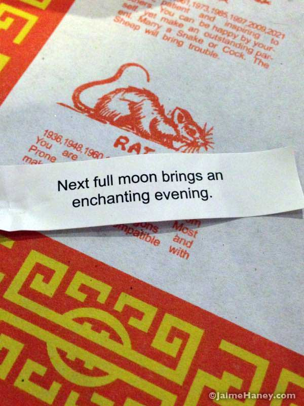 Full moon fortune cookie
