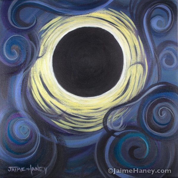 """Luna Synchronicity"" abstract painting of the solar eclipse"