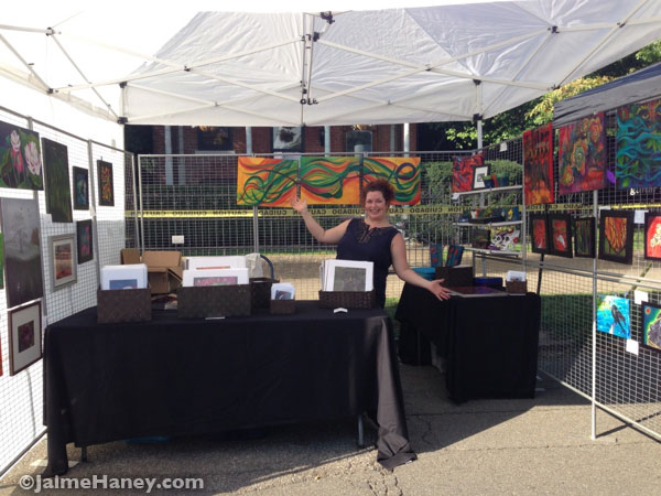 Jaime Haney in her booth at Funk in the City