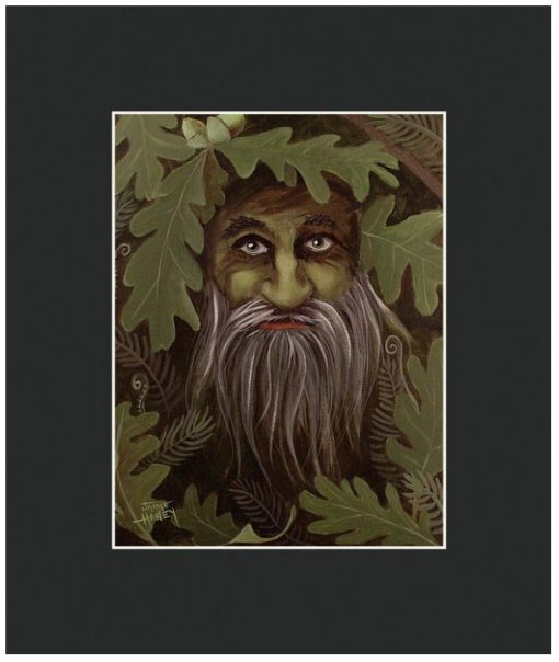 green man painting matted print