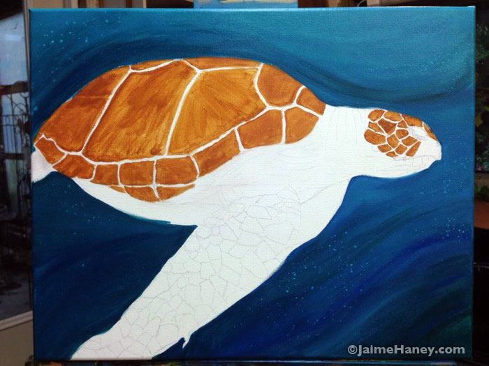 Sea Turtle painting work in progress