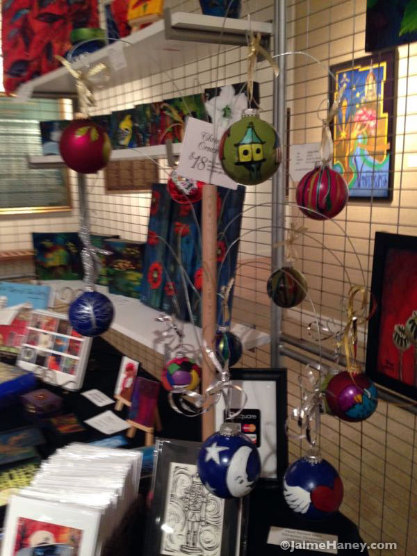 My hand painted Christmas ornaments on display at the Winter Art & Craft Festival