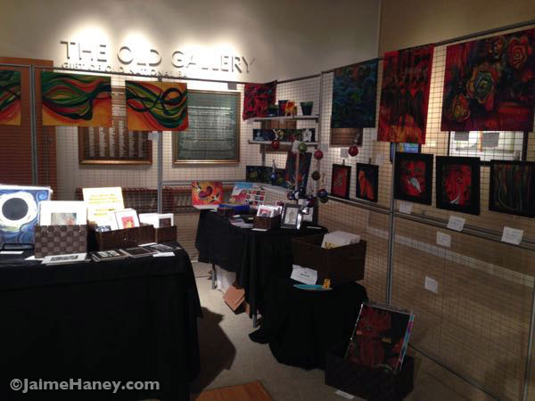 Right side of my art booth at the Winter Art & Craft Festival
