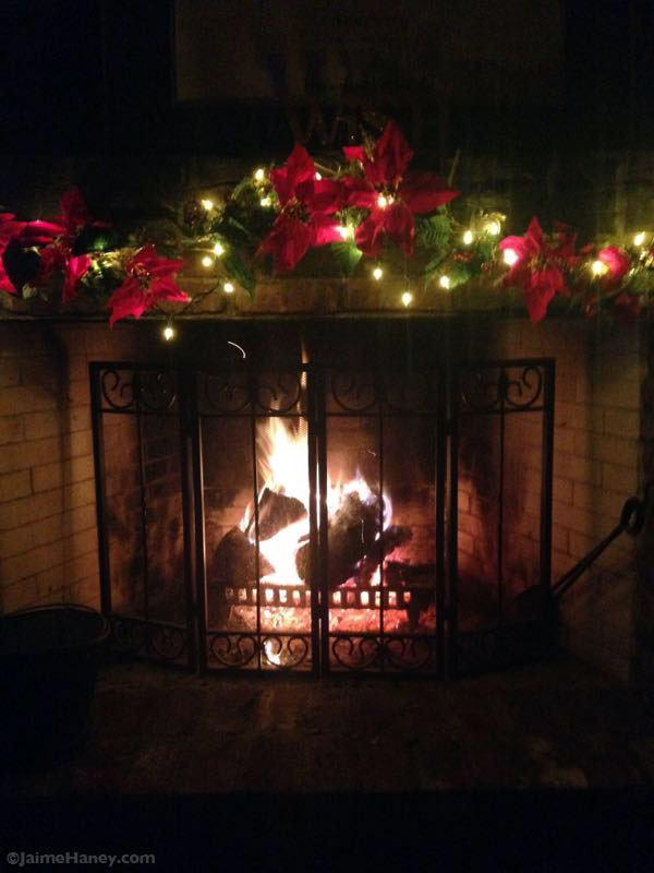 Fireplace decorated for Christmas