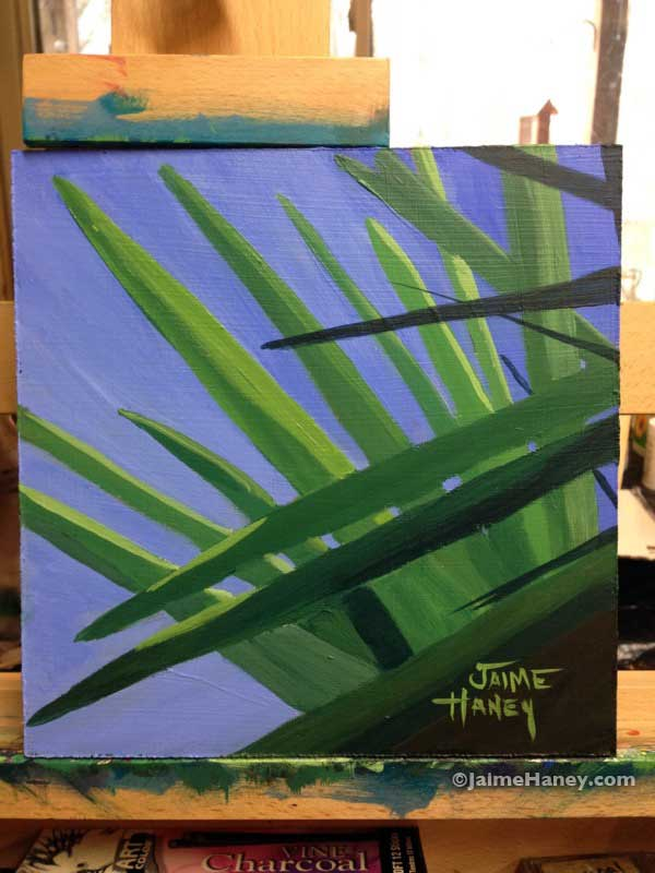 Abstract Tropical Leaves painting by Jaime Haney