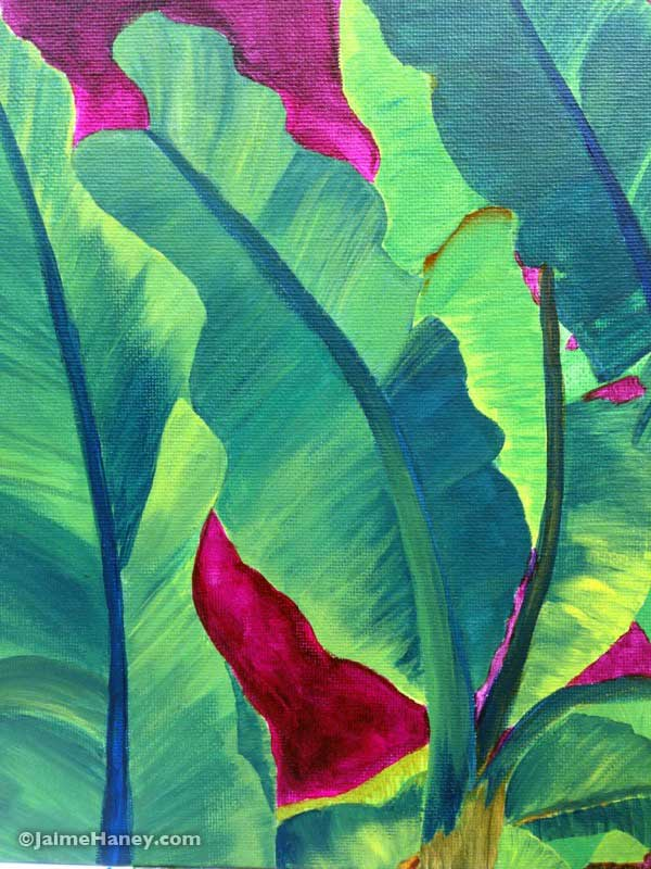 painted banana leaves with magenta background