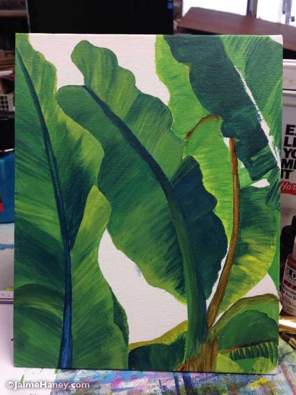 painted banana leaves work in progress