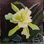 greenish yellow orchid painting