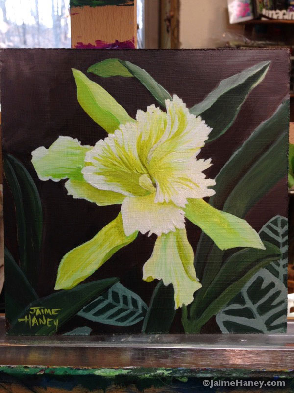 greenish yellow orchid painting