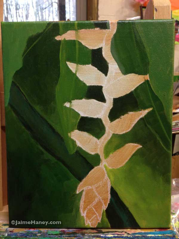 Heliconia flower painting in progress