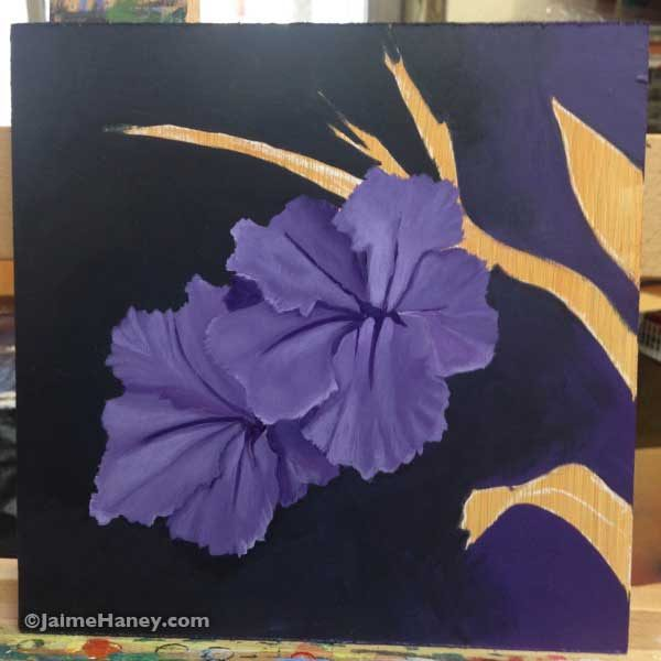 Work in progress of two dusty purple Mexican Petunias painted with a dark dramatic background by artist Jaime Haney