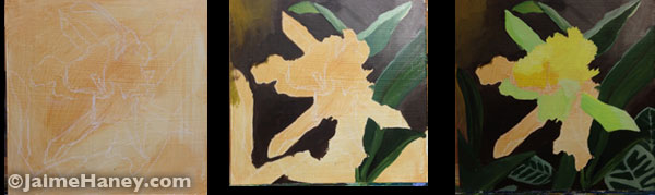 greenish yellow orchid painting work in progress shots