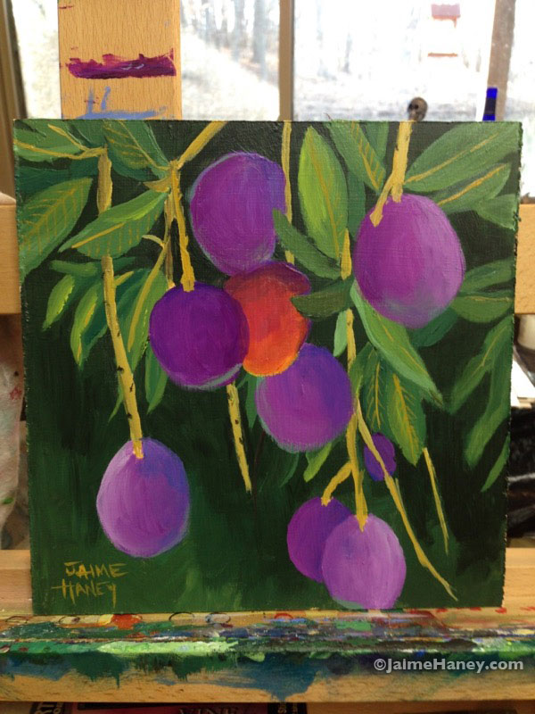 purple mangoes hanging from a tree painting
