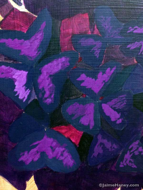 Close up photo of purple oxalis plant painting