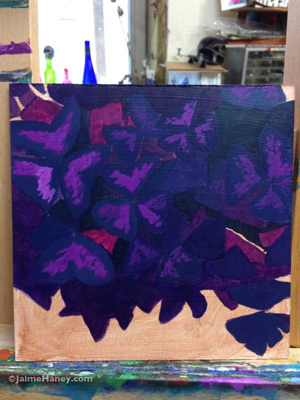 Work in progress photo of purple oxalis plant painting