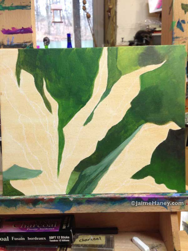 Work in progress of a Ti Plant painting