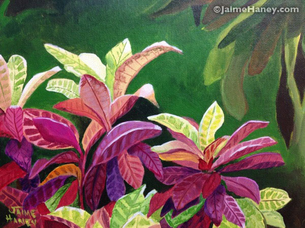 painted crotons on canvas board by Jaime Haney