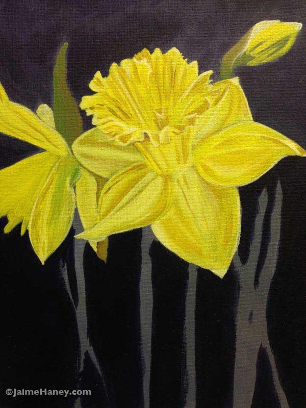 Yellow Daffodils painting in progress