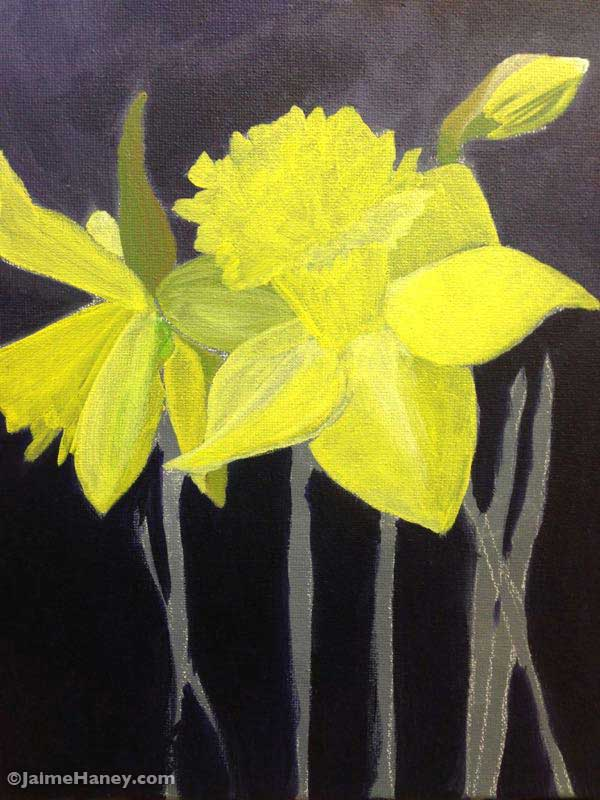 painted daffodils in progress