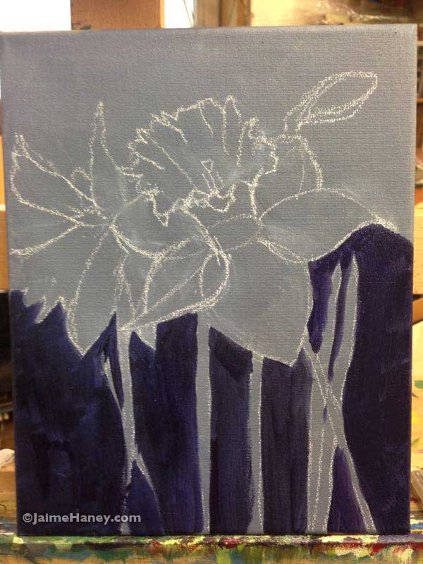 painted Daffodils painting in progress