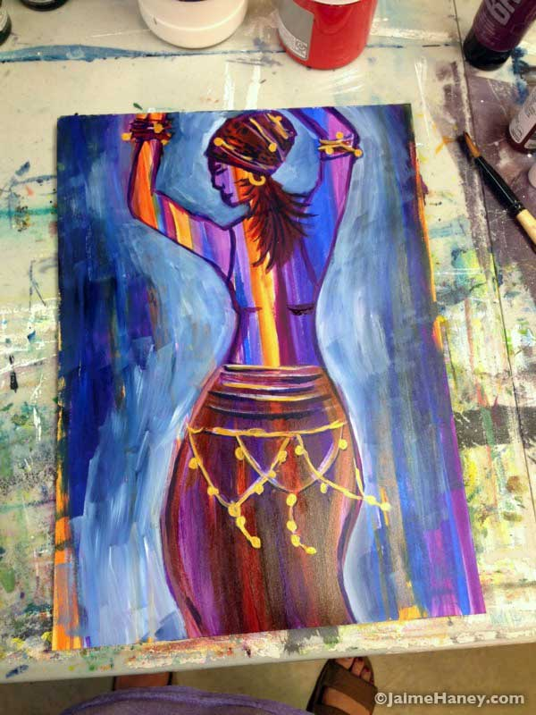 Painting of a Woman dancing with blue background