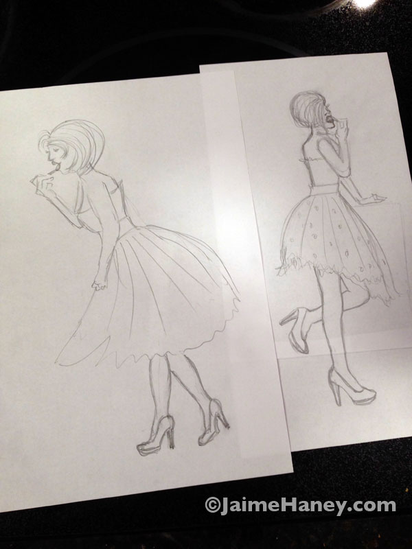 Initial sketches for Glamour Girl to be painted on Little Guy Trailer